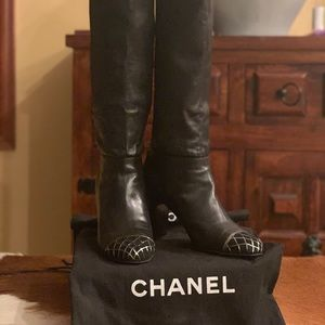 Authentic Chanel Cap Toe Leather Boots